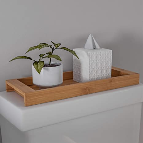 Amazon Com Lavish Home Bamboo Bathroom Vanity Tray Natural Wood Eco Friendly Holder For Towels Toiletries Cosmetics Décor And More Modern Bath Accessories Home Kitchen