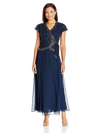 0d6bc082274 J Kara Women s Petite Short Flutter Sleeve V-Neck Long Beaded Dress at  Amazon Women s Clothing store
