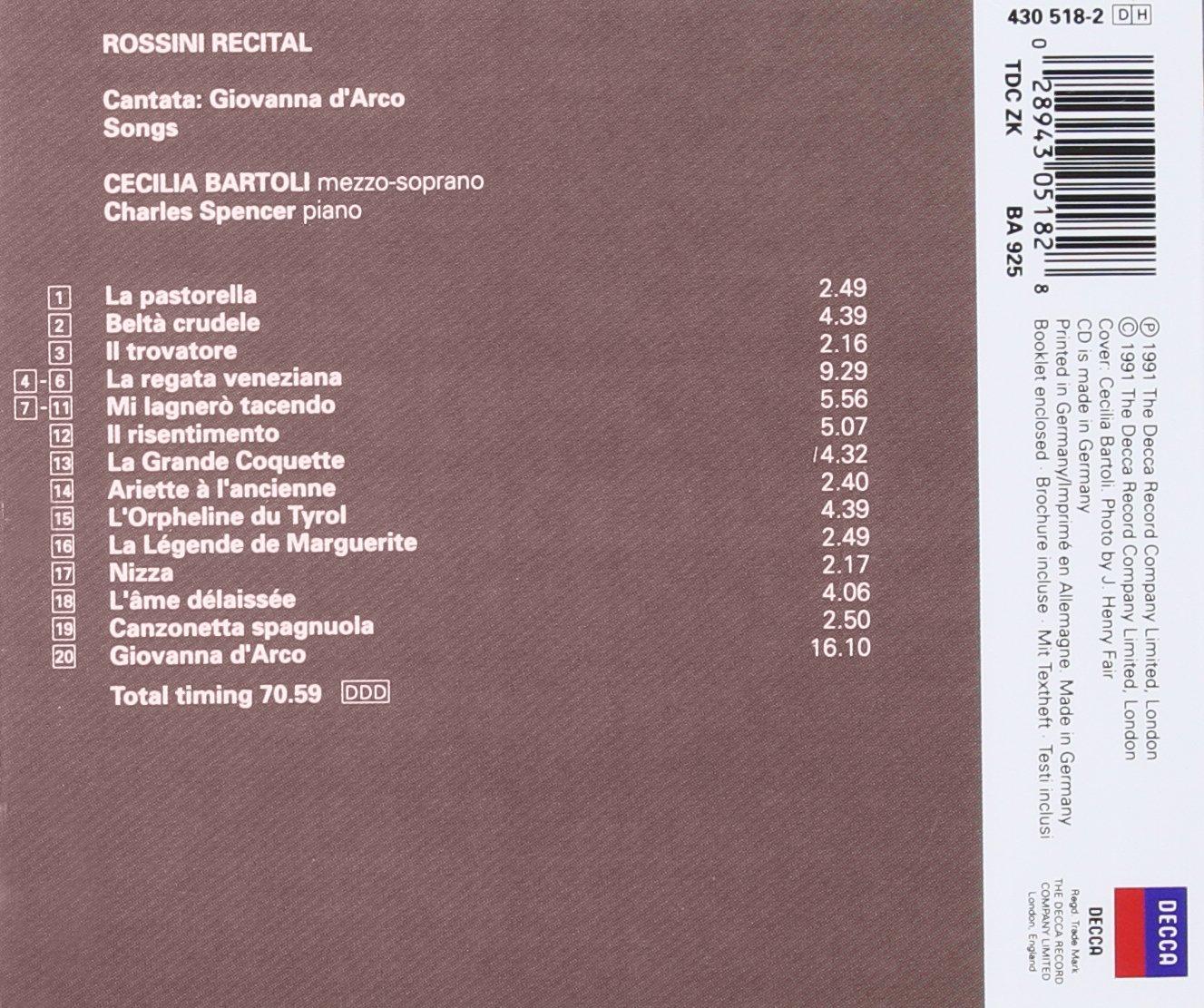 Cecilia Bartoli - Rossini Recital ~ 19 Songs & Cantata: Giovanna dArco