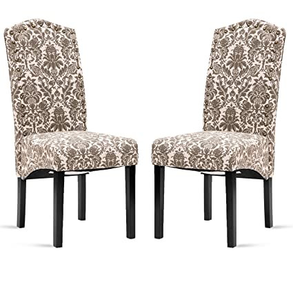 Merax Fabric Dining Chairs Flower Patterned Fabric Accent Chair With Solid  Wood Legs, Set Of