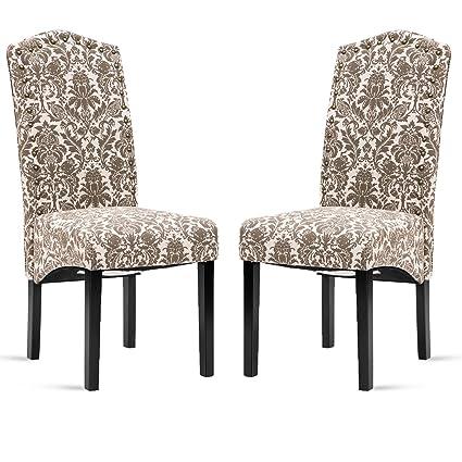Amazon Merax Fabric Dining Chairs Flower Patterned Fabric Impressive Patterned Dining Chairs