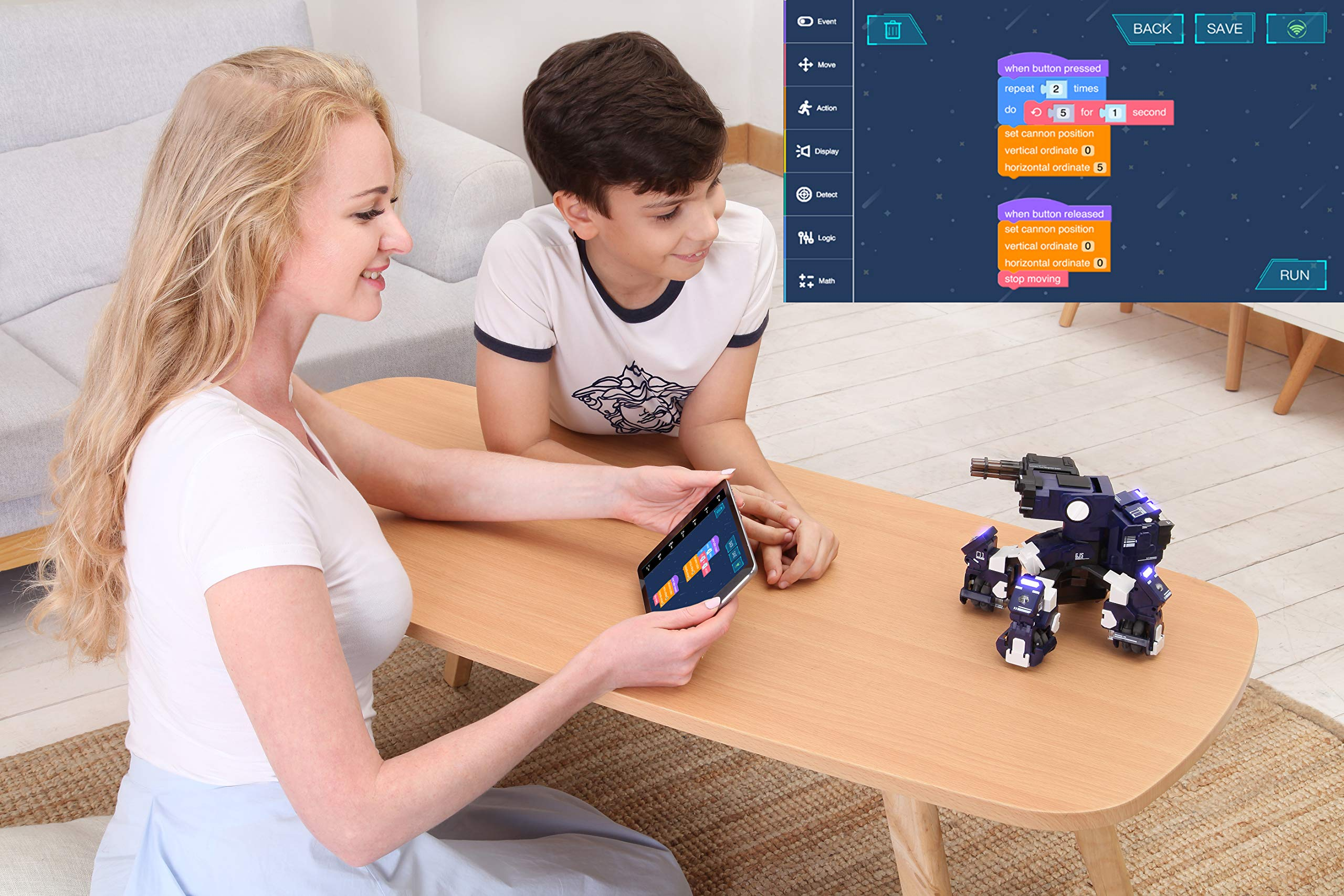 GJS Robot - GEIO Gaming Robot, App-Connected Program Robotic, STEM Educational Robots for Kids to Learn Coding, 8 Modes in 1(Blue) by GJS Robot (Image #4)