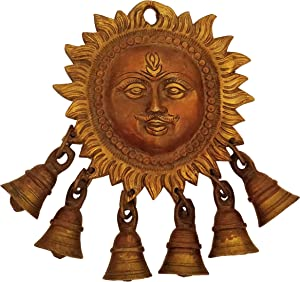 GURU JEE Handmade Brass Statue Sun Surya Face 6 Bells Hindu God Murti Idol Sculpture Wall Hanging Home Décor for Puja Gifts Showpiece 7 Inch