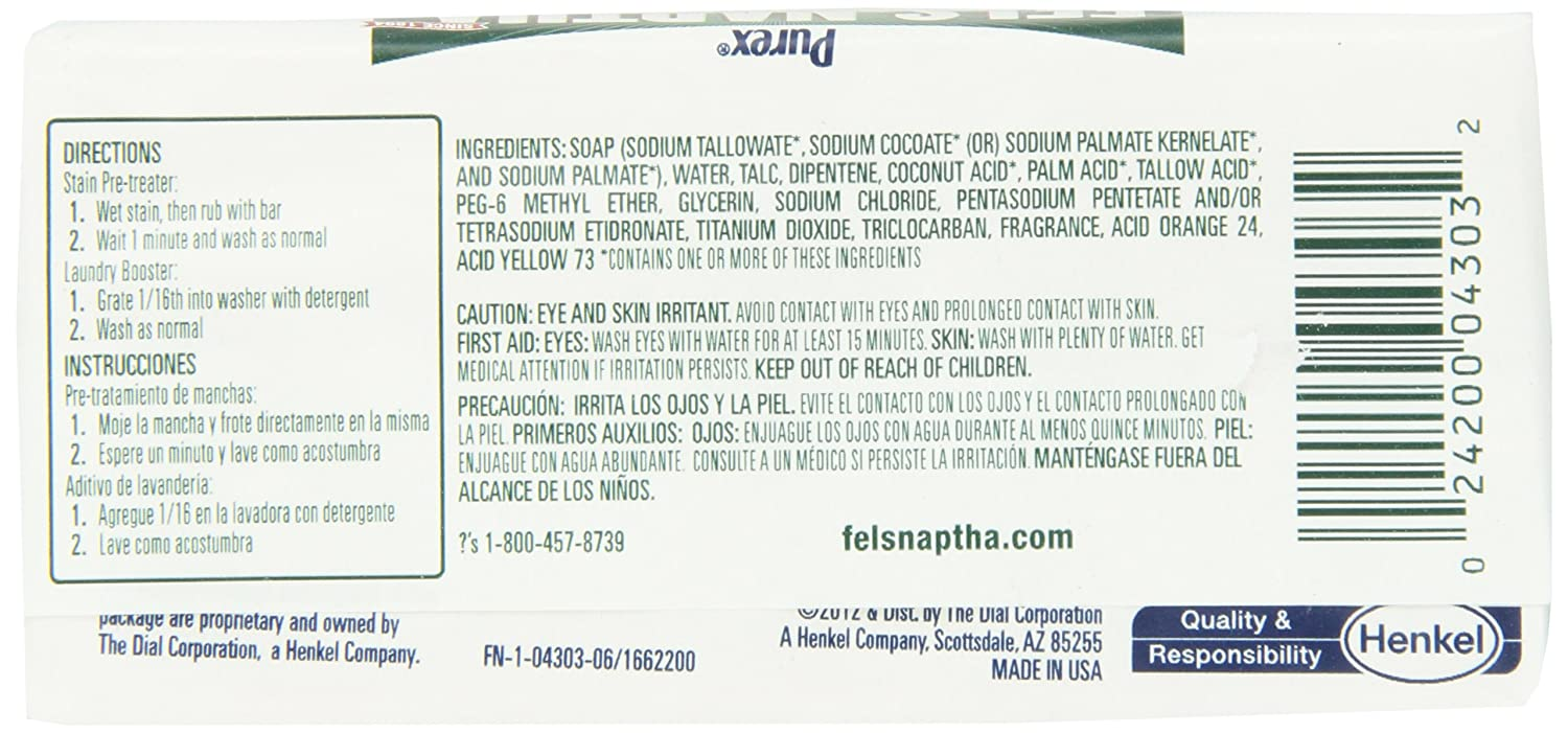 Fels Naptha Laundry Bar and Stain Remover, 5.5 Ounce by Fels ...