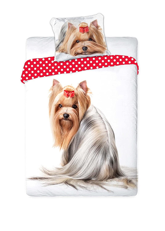 Unbekannt Faro Yorkshire Perro Cachorro Best Friends - Juego de Cama, Funda nórdica de 160 x 200 Cama Individual 100% algodón Ropa de Cama, más Colores, ...