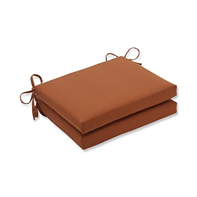 Pillow Perfect Indoor/Outdoor Cinnabar Squared Seat Cushion, Burnt Orange, Set of 2: Home & Kitchen
