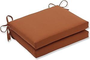 Pillow Perfect Indoor/Outdoor Cinnabar Squared Seat Cushion, Burnt Orange, Set of 2