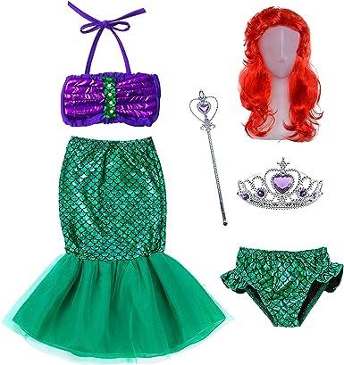 Peluca Para Disfraz De Princesa De Sirena De Las Niñas 18m 12t Clothing