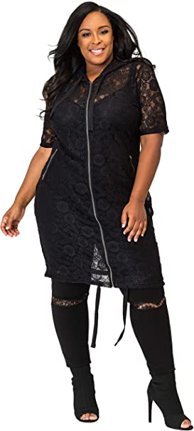 Poetic Justice Curvy Womens Suede Sleeveless Grommet Lapels Duster Coat