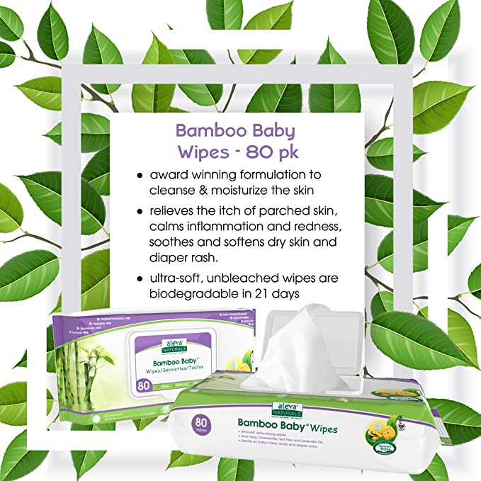 480 Count Original 480ct Aleva Naturals Bamboo Baby Wipes