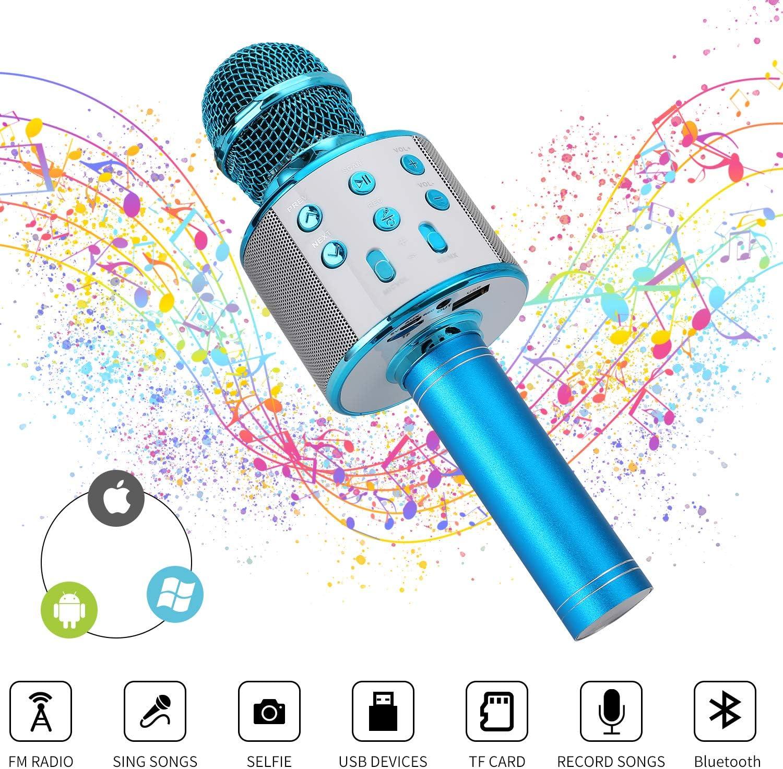 Ulikey Micrófono Karaoke Bluetooth, Micrófono Inalámbrico Bluetooth con Altavoz, Micrófono Karaoke Portátil para Niños Canta Partido Musica, Compatible con Android/iOS PC o Teléfono Inteligente (Azul)