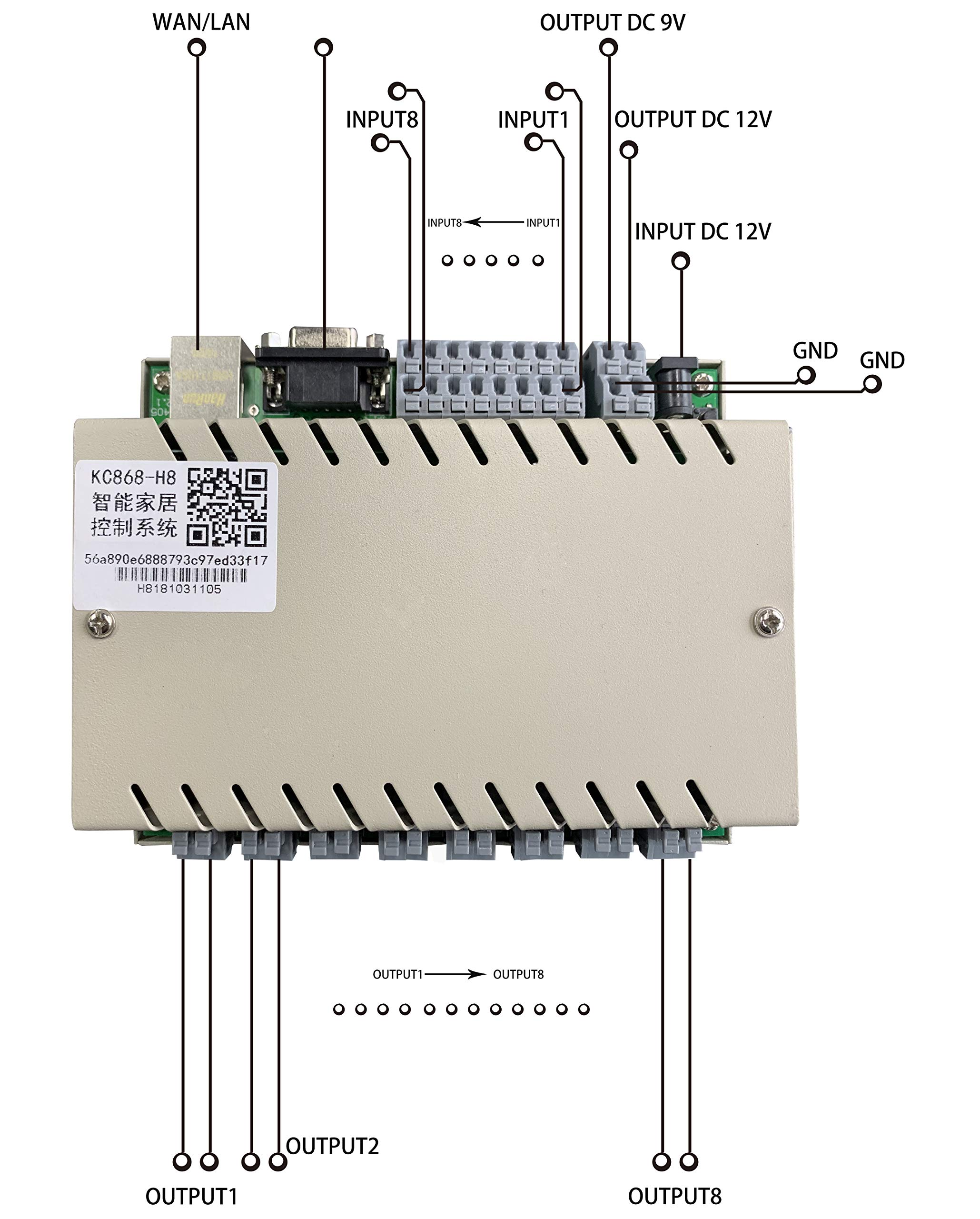 KinCony KC868-H8 gang Network IP Web Relay Controller module Ethernet rs232 for DIY smart home remote switch supply ios android app pc with protocol and sample source code by KinCony (Image #3)