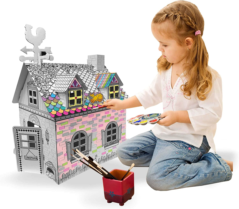 Casetta per bambini in cartone 3D per colorare e per lavori artigianali Ricco