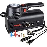 PowRyte Basic 120PSI Dual Power 12V DC or 120V AC Dial Tire Inflator- Portable Air Compressor with Carry Case