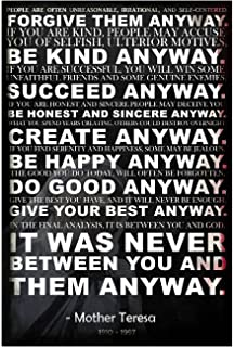 Mother Teresa Anyway Quote Poster | 18 Inches By 12 Inches | Premium 100lb