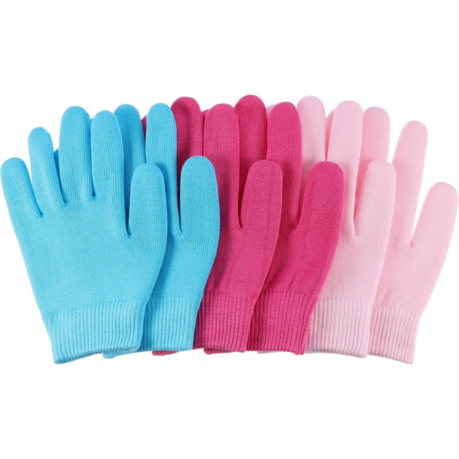 Bememo 3 Pairs Gel Moisturizing Spa Gloves Hand Spa Gloves Moisture Enhancing Gloves, Pink, Blue and Rose Red