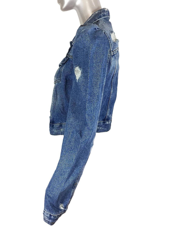 bd56e530 Zara Women Denim jacket with puff sleeves 5252/016 (Medium) at Amazon Women's  Coats Shop
