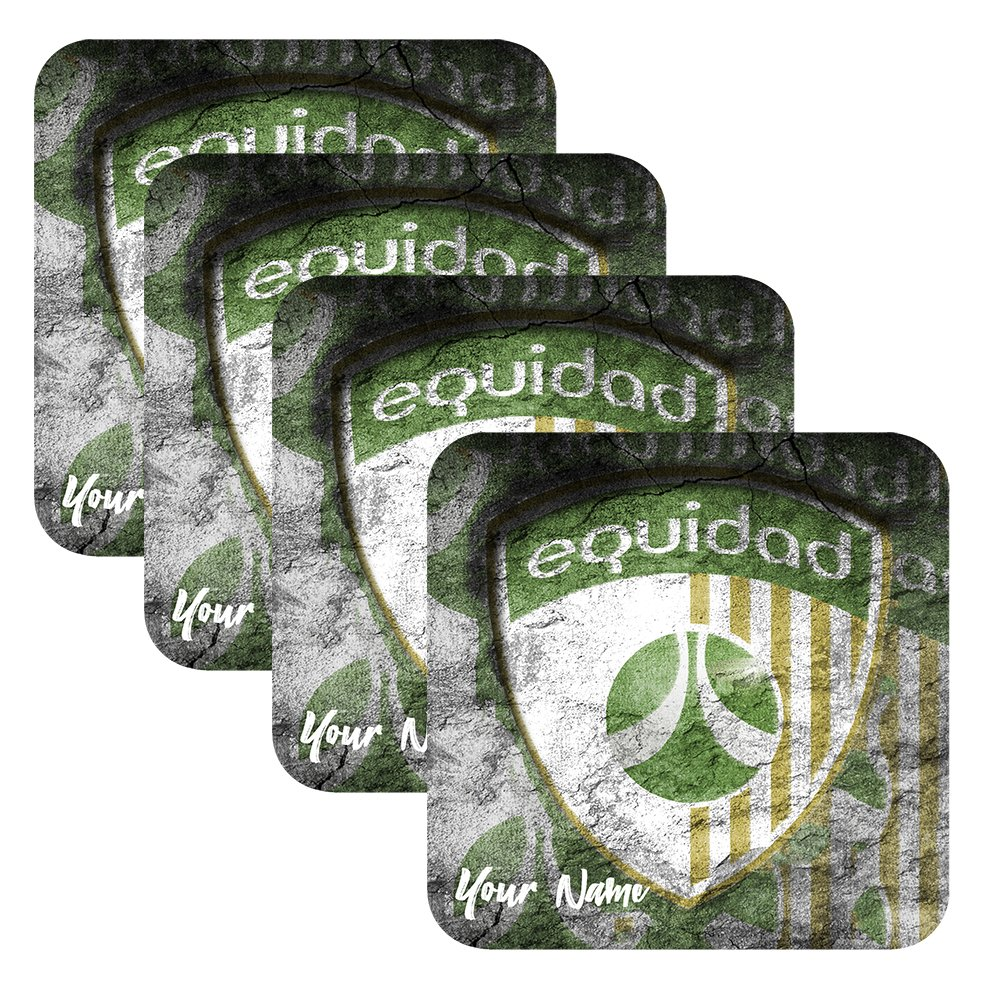 Azty Designs Set of 4 Personalized Custom Wood Coaster Glossy Liga Colombia Futbol Soccer