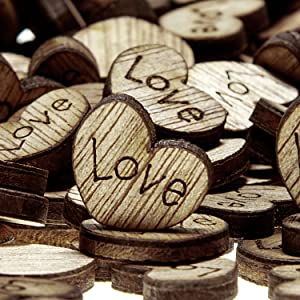 E SELECT Wedding Decorations Wooden Love Heart Crafts Table Scatter Rustic Wedding Decorations (500)