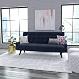 Oakland Click Clack Stylish and Modern Tufted Futon Sofa Bed (Navy Blue Velvet)