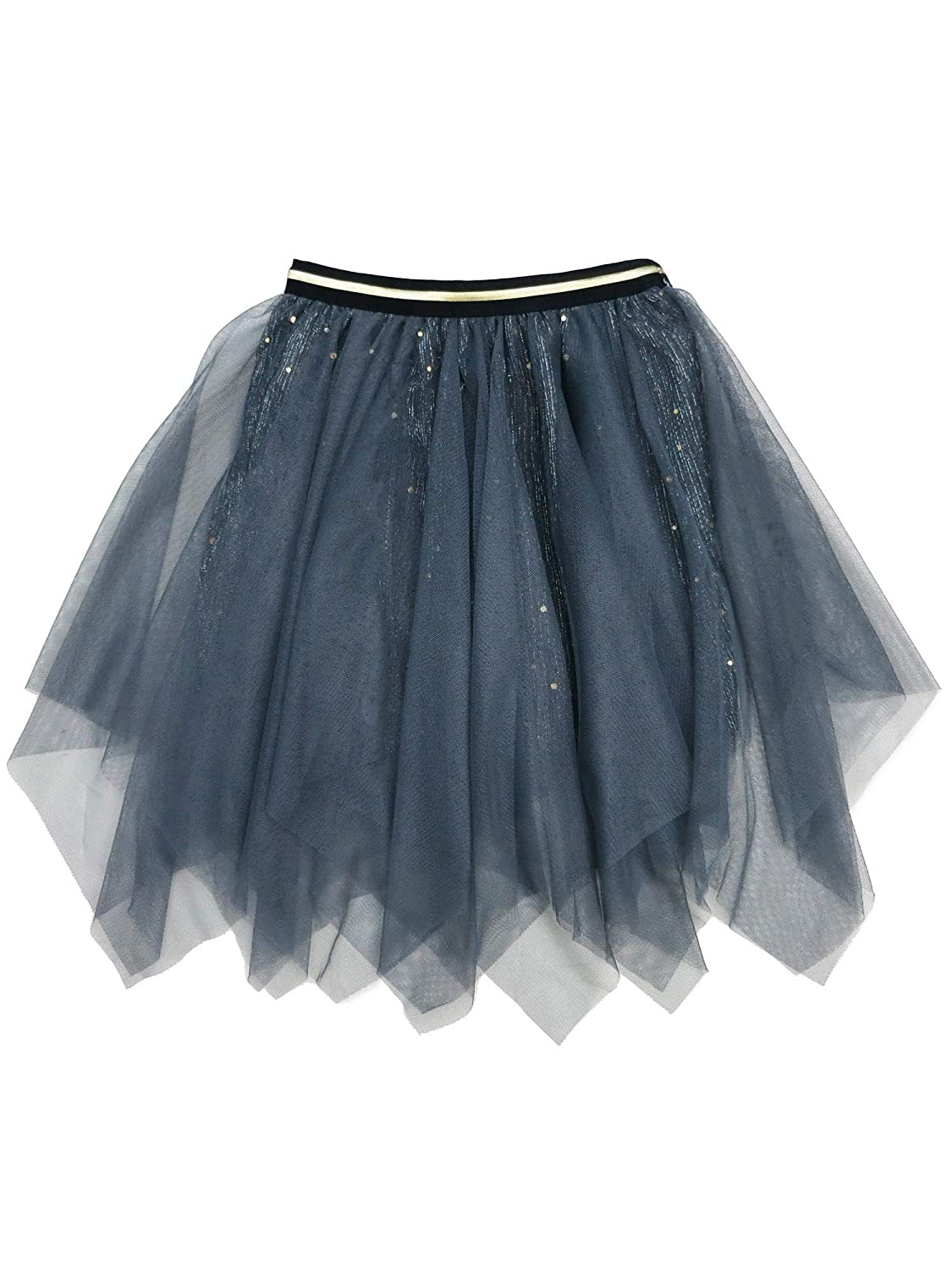 Wenchoice Girls Gray Glitter Uneven Cut Overlaid Mesh Tutu Skirt 9M-8