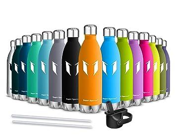 Super Sparrow Botella de Agua aislada al vacío de Acero Inoxidable, diseño de Pared Doble - 500ml & 750ml - Sin BPA Gorra Deportiva con Gorra estándar ...