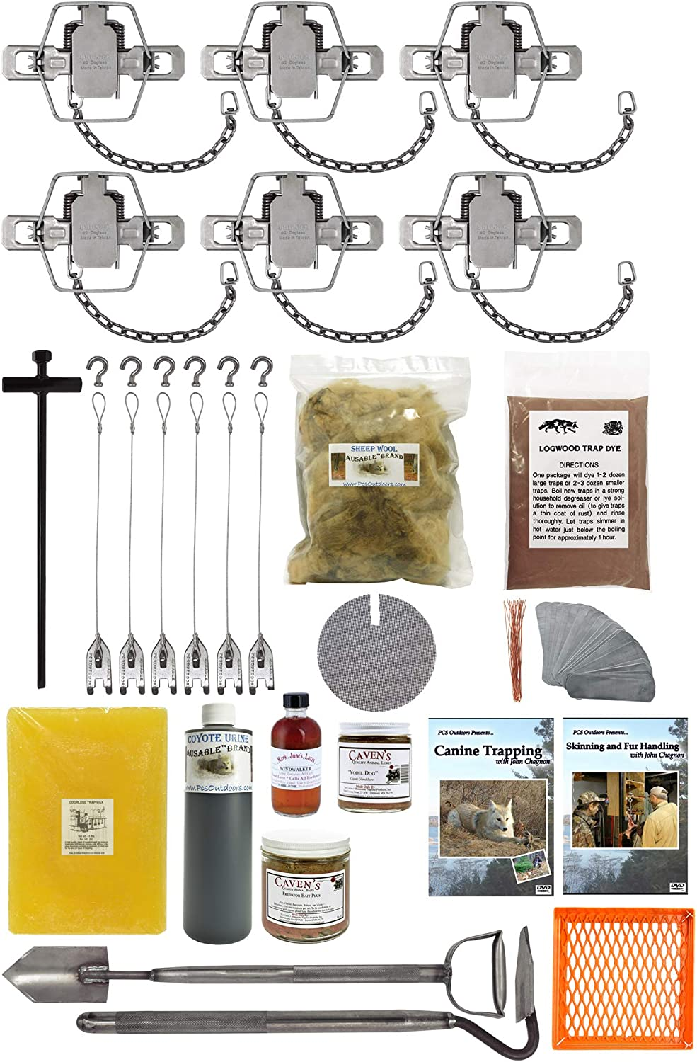 PcsOutdoors Standard Coyote Trapping Starter Kit USA Made Kit 20 Pieces