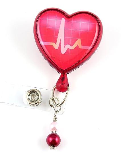 Amazon com : EKG Heart Badge Reel- Nurse Badge Reel