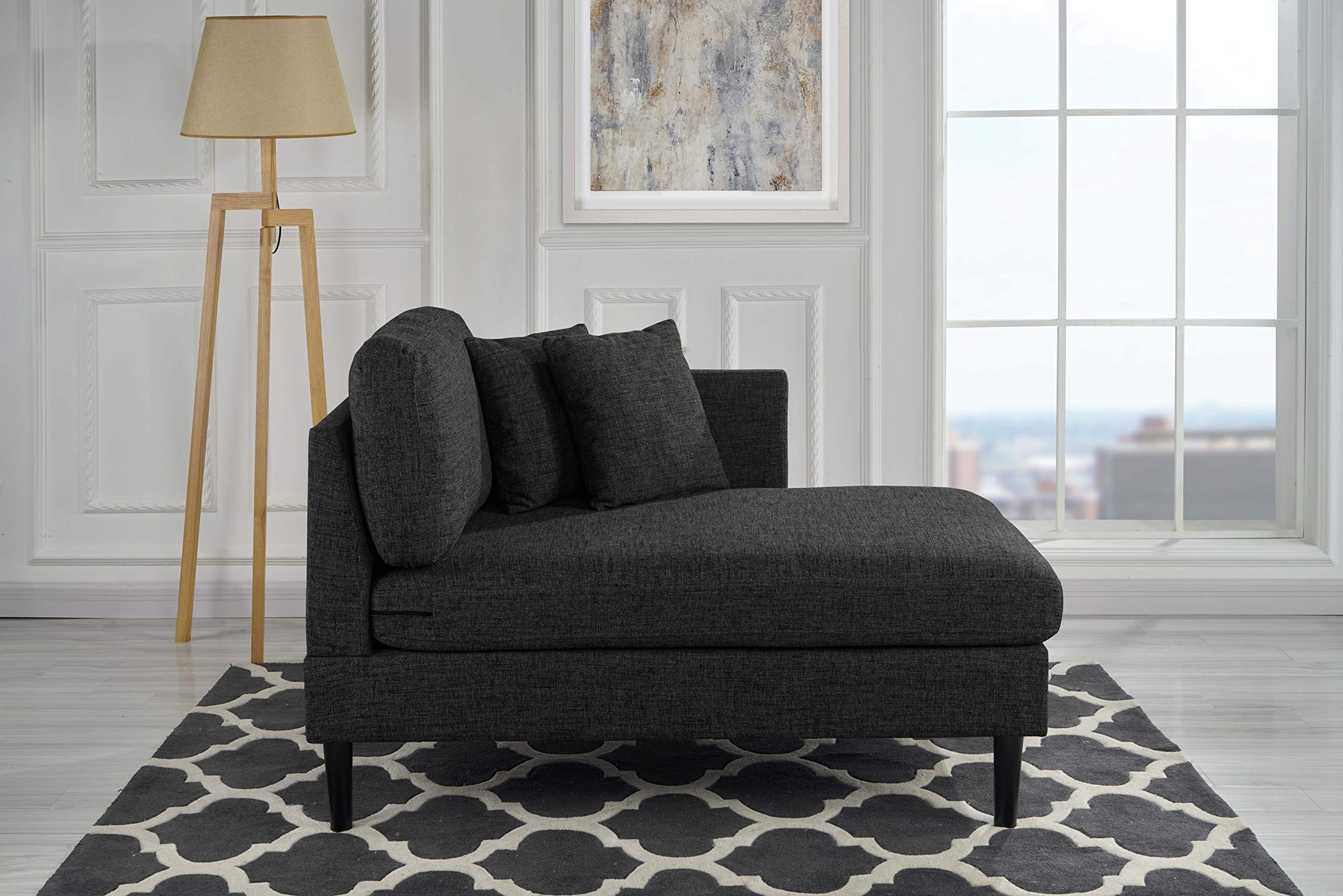 Chaise Lounge Indoor Chair Stitched Linen Fabric (with 2 Accent Pillows), Modern Mid Century Plush Chaise Lounger for Office | Living Room or Small Space Home Furniture, Jet Black by Casa Andrea Milano