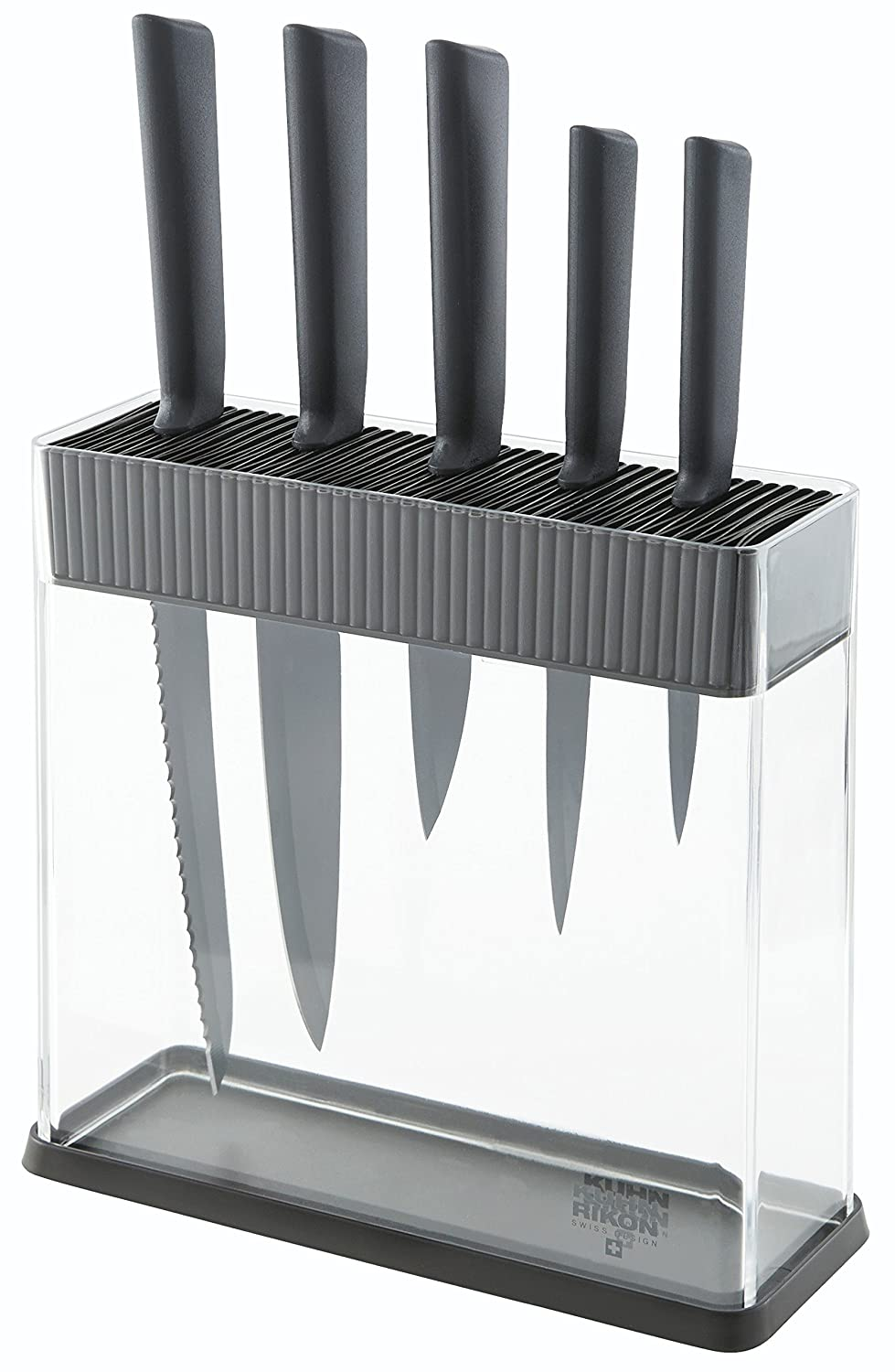 Kuhn Rikon Colori+ Set of 6 Non-Stick Knife Set with Block, Black Kuhn Rikon Of Switzerland 26592