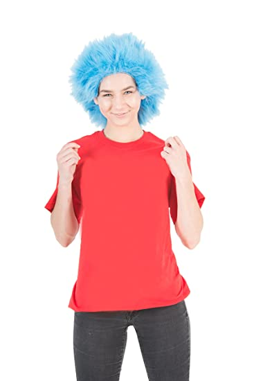 TV Store Fluffy Blue Adult Costume Wig