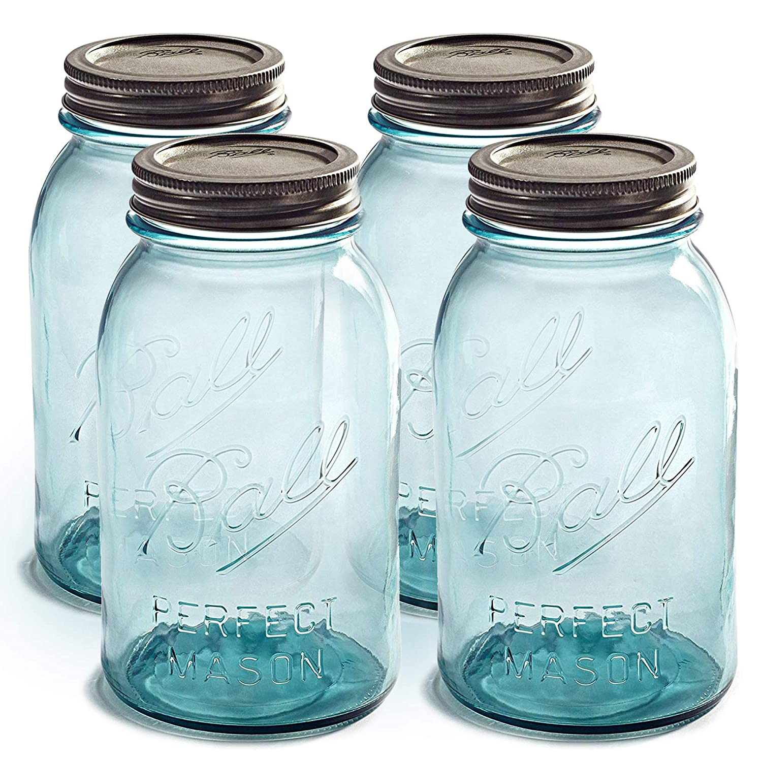 Ball Aqua Canning Jars 32 oz Regular Mouth - Set of 4 Vintage Mason Jars Aqua-colored glass with Airtight lids & Bands - DIY crafts & Decor - Safe For Canning, Pickling, Storage + SEWANTA Jar Opener