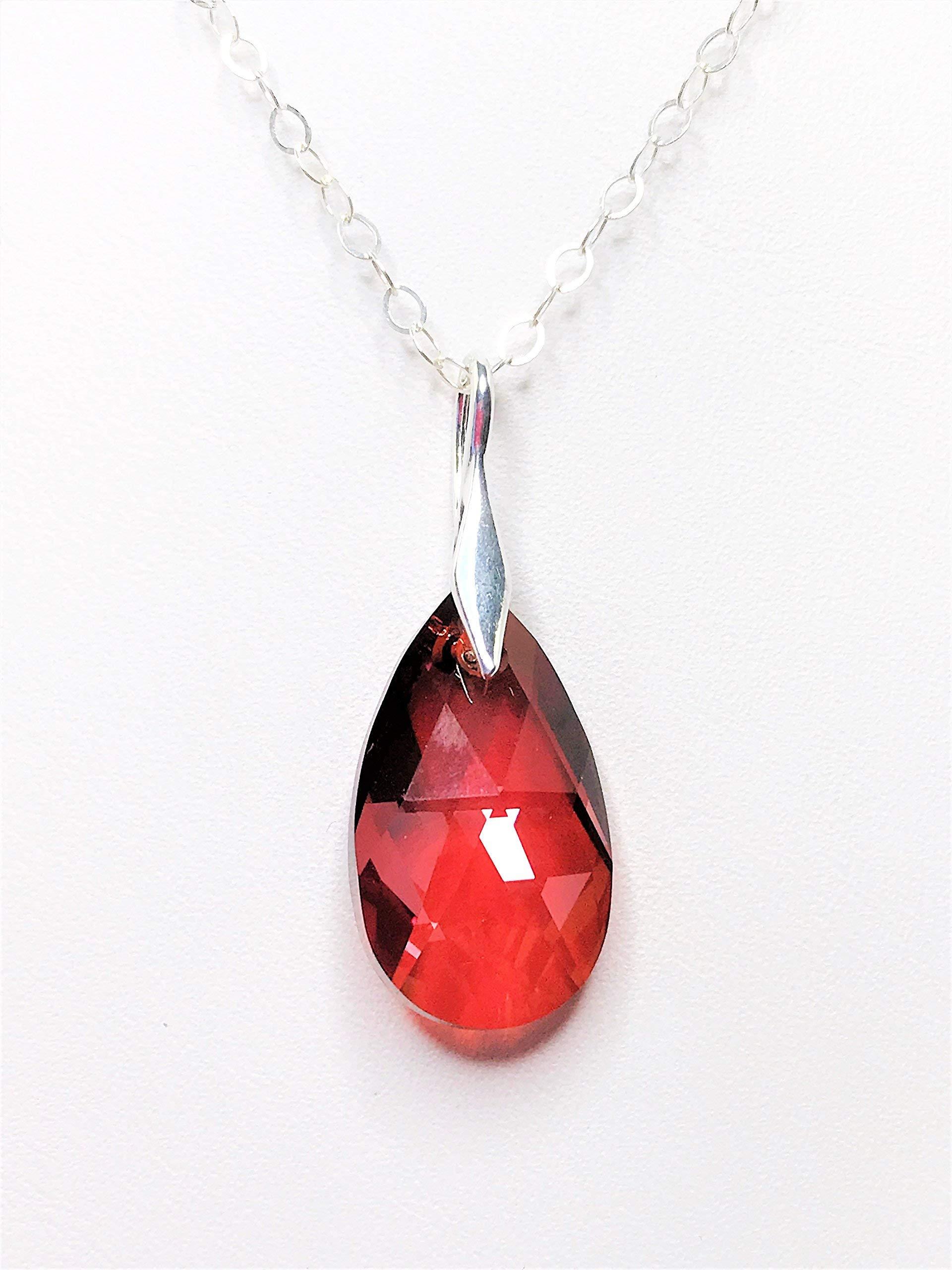 Handmade Ruby Red Swarovski Teardrop Crystal Sterling Silver Pendant