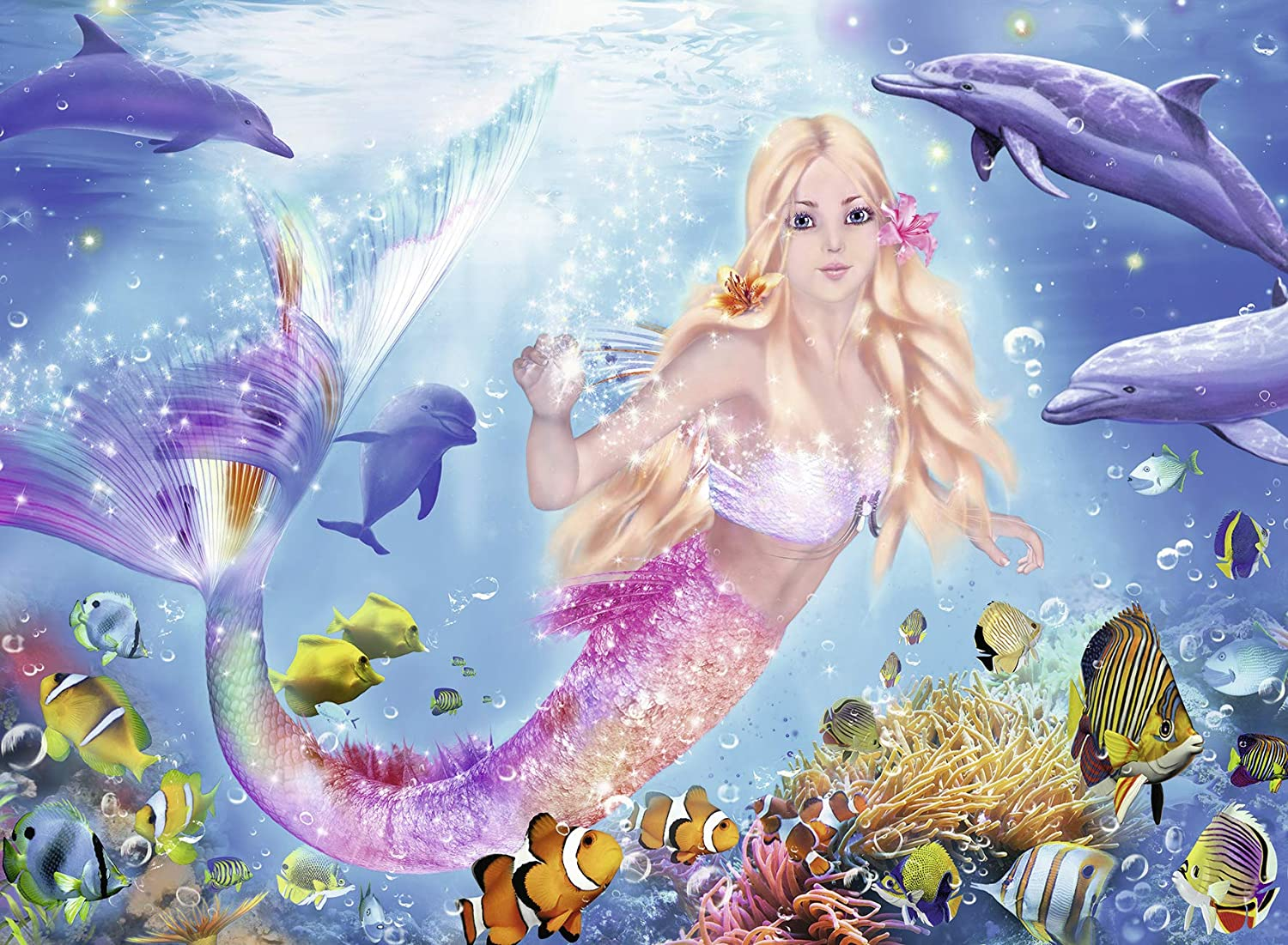 Pieces Fit Together Perfectly 13642 Ravensburger Mermaid and Dolphins Glitter 100 Piece Jigsaw Puzzle for Kids Every Piece is Unique
