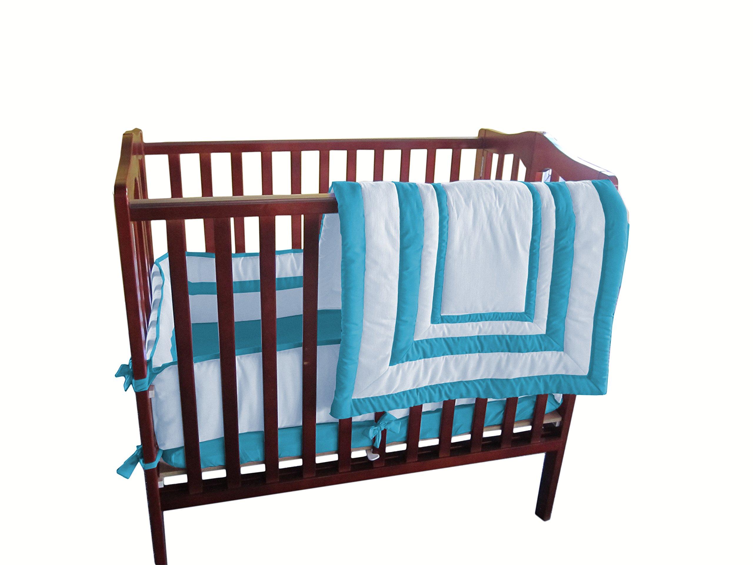 Baby Doll Bedding Modern Hotel StyleMini Crib/  Port-A-Crib Bedding Set, Aqua