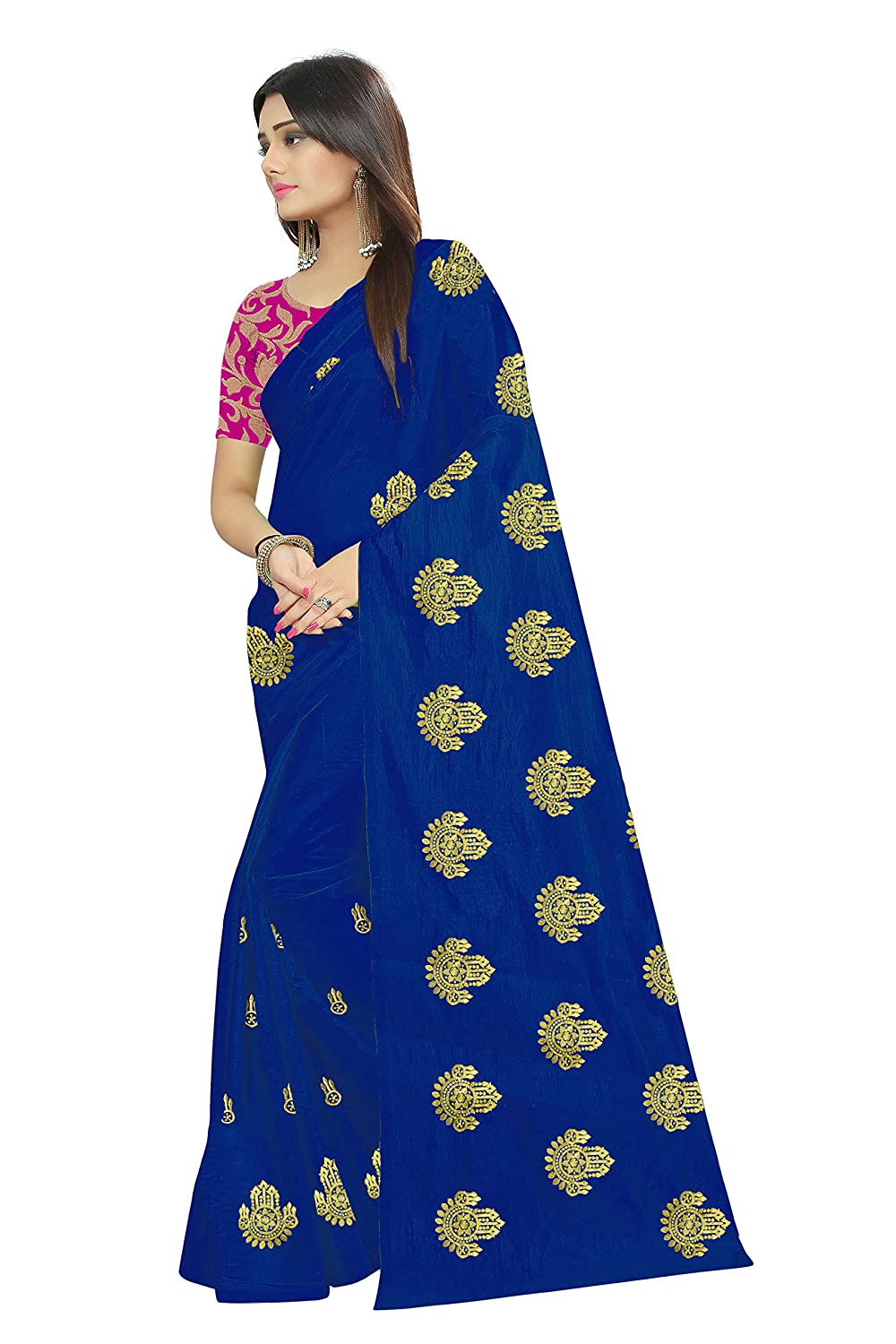 1c1980f3fc Shailaja Saree Women's Paper Silk Embroidery Work Sari With Brocade Blouse  Piece (Blue): Amazon.in: Clothing & Accessories