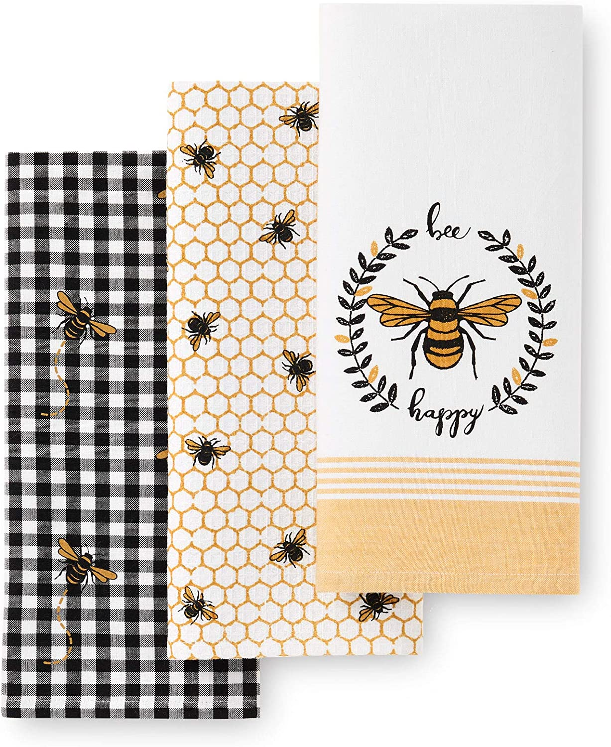 "Elrene Home Fashions Farmhouse Living Bee Happy Honeycomb Kitchen Dish Tea Towel, Set of 3, 18"" x 28"", Multi"