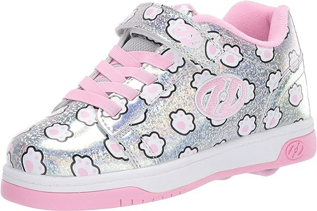 Heelys Girls' Dual Up X2 Tennis Shoe, Silver Glitter/Light Pink/Paws, 2 M US Little Kid
