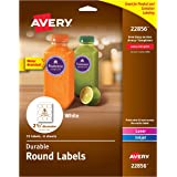 "Avery Durable White Round Labels, 2-1/2"" Diameter, Pack of 72 Labels (22856)"