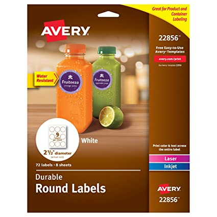 Amazon Avery Durable White Round Labels 2 12 Diameter Pack
