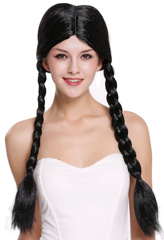 WIG ME UP ® - 90958-ZA103 Peluca Mujer Carnaval Halloween Negro Largo Trenzas Trenzadas Colegiala traviesa: Amazon.es: Juguetes y juegos