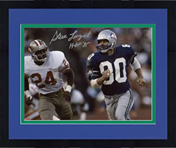 Framed Steve Largent Seattle Seahawks Autographed 8 quot  x 10 quot  Blue  Uniform Running Photograph with aedf036f2