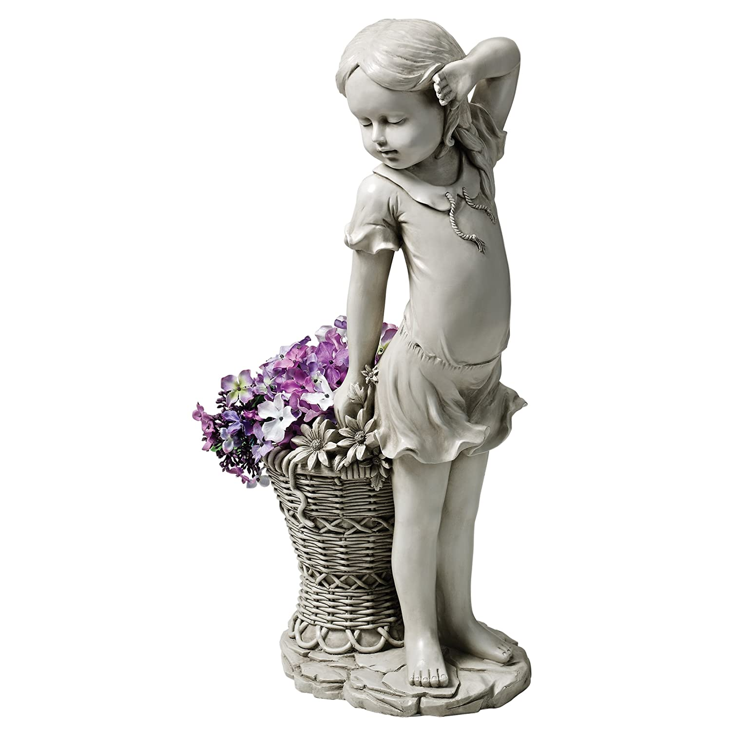 Design Toscano Frances The Flower Girl Outdoor Garden Statue with Planter, 21 Inch, Polyresin, Antique Stone