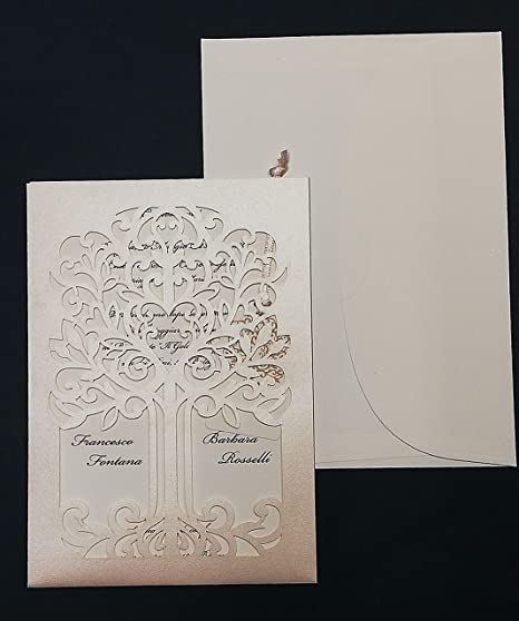 Partecipazioni Matrimonio Artigianali.Inviti Di Matrimonio Taglio Laser Produzione Artigianale Cod E