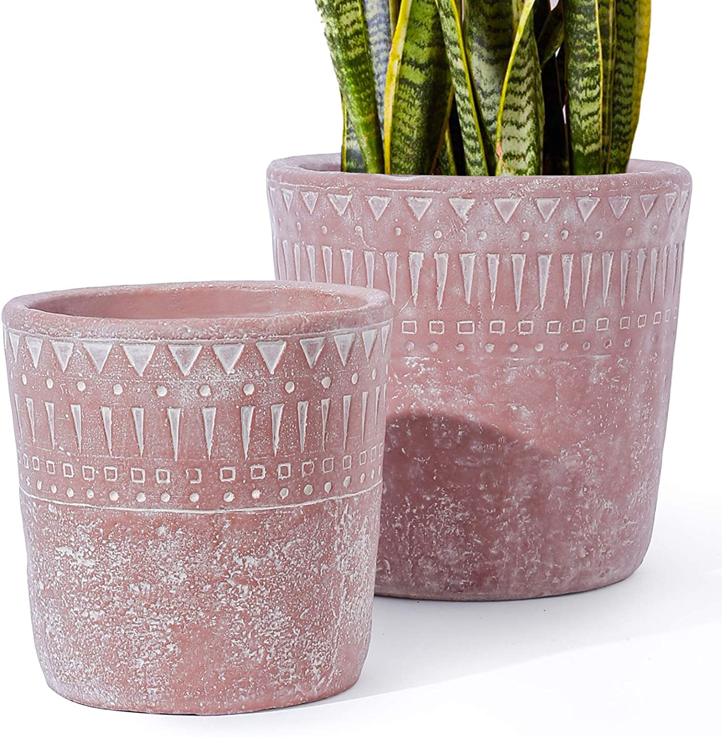 LE TAUCI 7+5.5 Inch Plant Pot with Drainage, Concrete Planter, Cement Pots for Plants, Outdoor Flower Planters, Medium to Large Planters, Mid Century Decor, Set of 2, Red