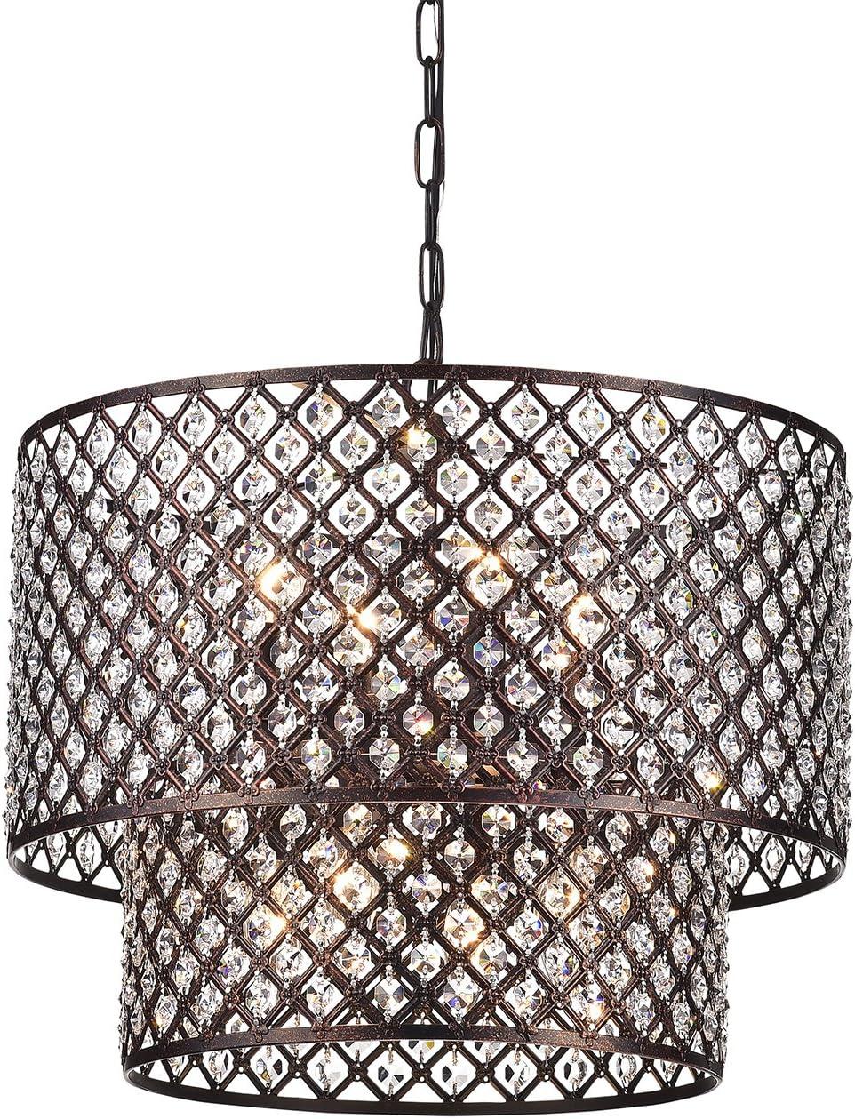 Antique Copper 2 Round Drum Shades 8-Light Crystal Chandelier Ceiling Fixture