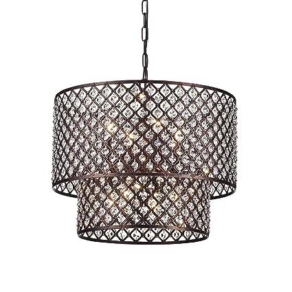Antique Copper 2 Round Drum Shades 8-light Crystal Chandelier Ceiling Fixture  sc 1 st  Amazon.com & Antique Copper 2 Round Drum Shades 8-light Crystal Chandelier ...