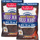 Bridgford Sweet Baby Ray's Sweet Teriyaki Beef Jerky, High Protein, Zero Trans Fat, Made With 100% American Beef, 10 Oz, Pack of 2