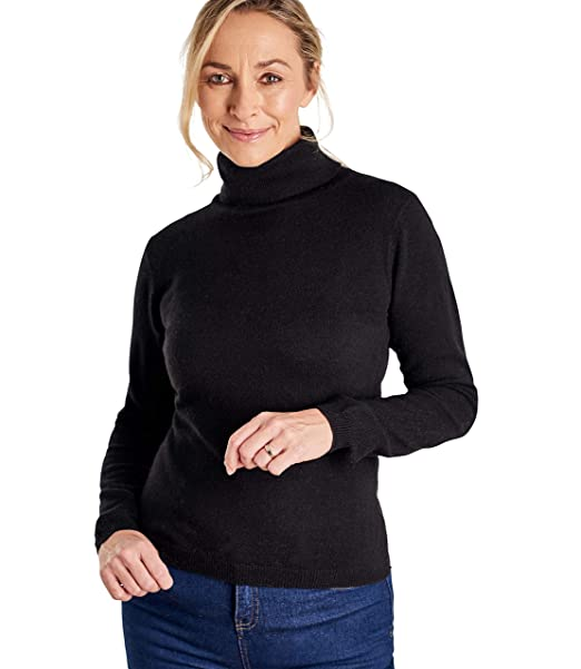 78b9d7b21 Woolovers Ladies Cashmere and Merino Fitted Polo Neck Knitted Sweater:  Amazon.co.uk: Clothing