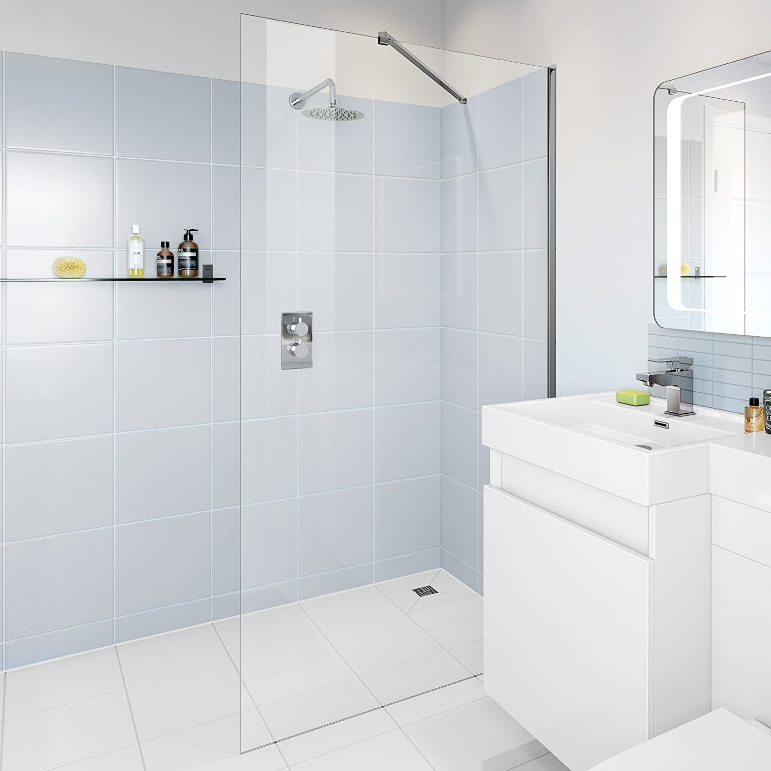 iBathUK 700mm Wet Room Glass Walk In 8mm Shower Screen Panel ...